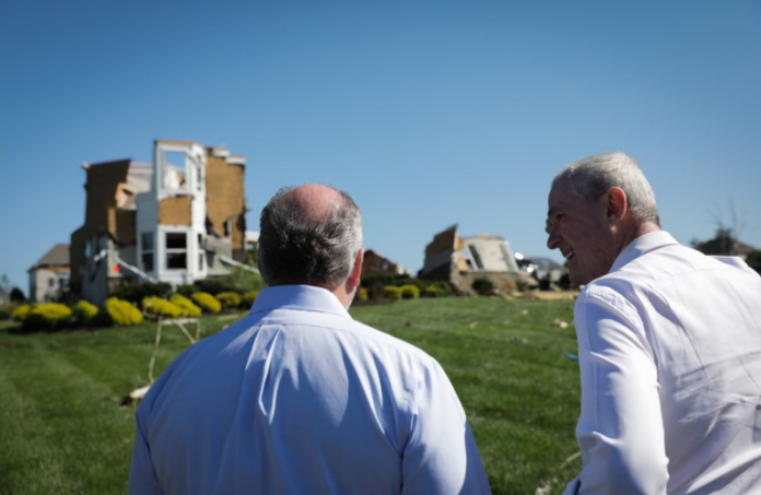 Gov. Murphy stands outside residential home destroyed by tornado